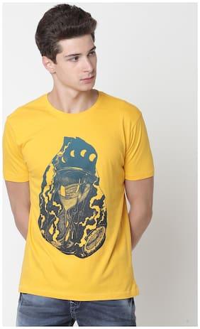 Newport Men Slim fit Crew neck Printed T-Shirt - Yellow
