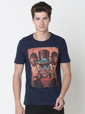 Newport Men Slim Fit Crew Neck Printed T-Shirt - Blue