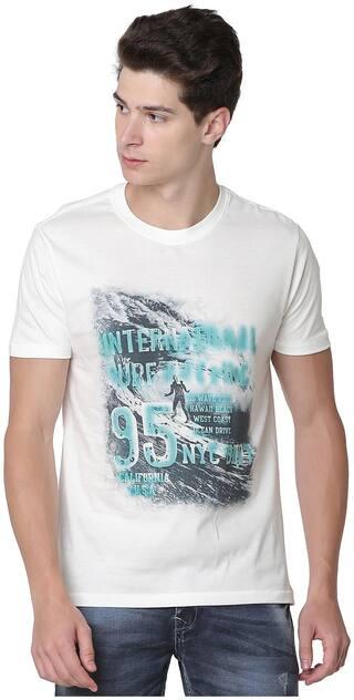 Newport Men Slim fit Crew neck Graphic print T-Shirt - White