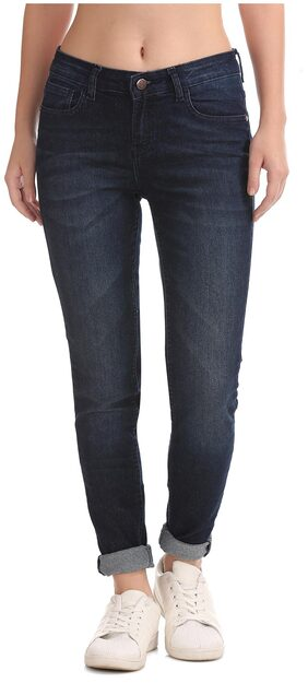 Newport Women Skinny Fit Mid Rise Washed Jeans - Blue