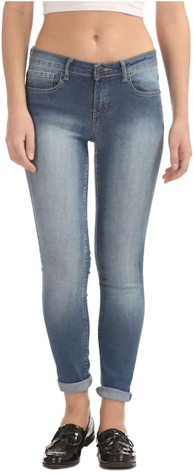 Newport Women Regular Fit Mid Rise Solid Jeans - Blue