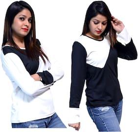 NICE QUEEN Women Multi Regular fit Round neck Cotton T shirt