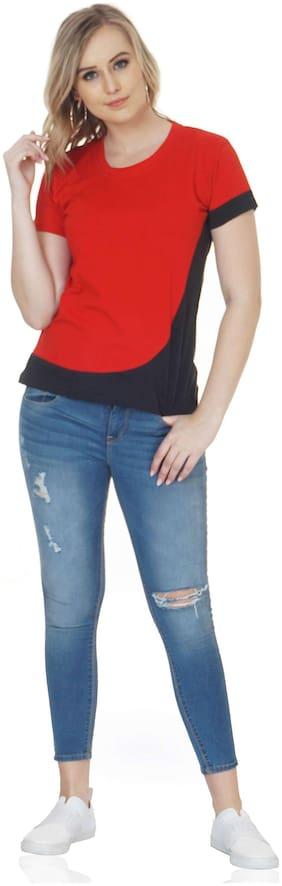 NICE QUEEN Women Solid Round neck T shirt - Red