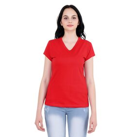 Nice Queen Half Sleeve Red Color, V neck Casual T-Shirt for Girl's and Women's