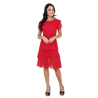 Nice Queen Red Color, Half Sleeve, Round Neck Trendy Dress for Girl's and Women's