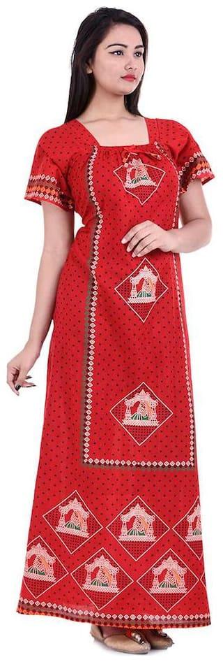 Apratim Red Night Gown
