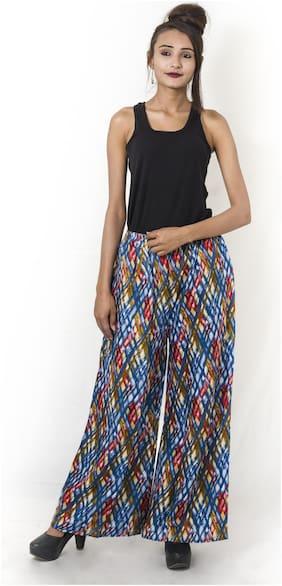 Nikhilam-Summer Wear-Rayon Staple-Multi Coloured-Round Elastic Waist Fit-jaipuri printed palazzo With Pockets