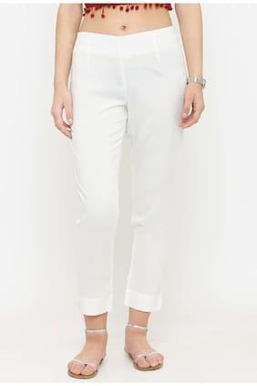 NIKHILAM Women White Regular fit Regular trousers