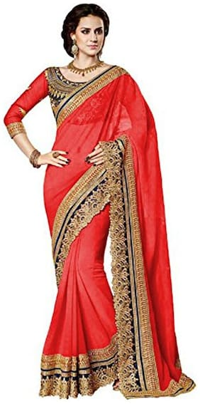 Georgette Universal Embroidered work Saree - Red , Without blouse
