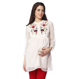 677fad6e1124 Buy NINE MATERNITY WEAR EMBROIDERED FRONT PLACKET MATERNITY TUNIC ...