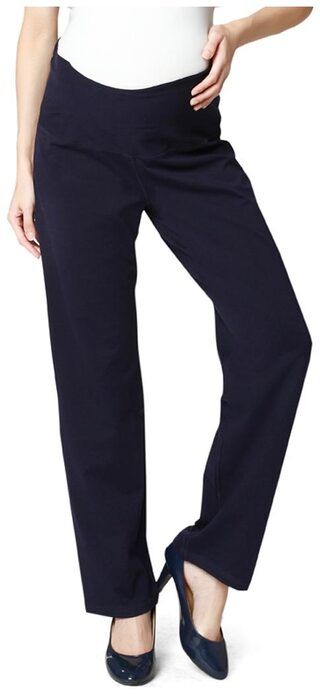 Nine Maternity Super Comfy Foldover Jersey Pants In Navy