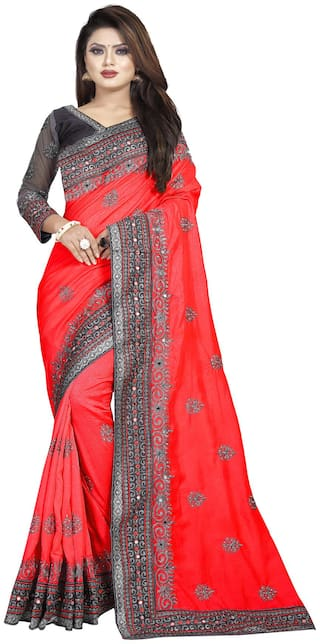 Nine Sister Red Embroidered Universal Designer Saree With Blouse , With blouse