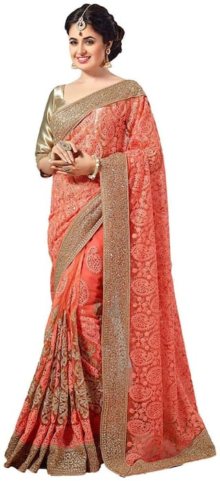 Nine Sister Orange Embroidered Universal Designer Saree With Blouse , With blouse