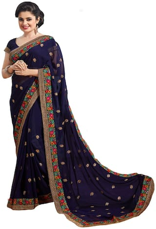 Nine Sister Blue Embroidered Universal Regular Saree With Blouse , With blouse