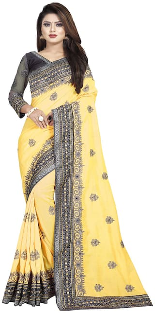 Nine Sister Yellow Embroidered Universal Designer Saree With Blouse , With blouse