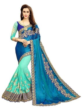 Nine Sister Silk Universal Embroidered work Saree - Blue , With blouse