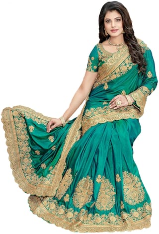 Nine Sister Green Embroidered Universal Regular Saree With Blouse , With blouse