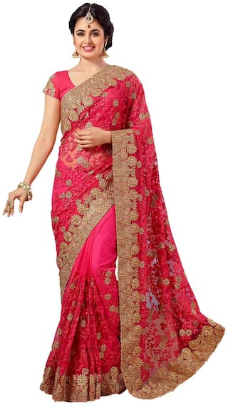 Nine Sister Pink Embroidered Universal Designer Saree With Blouse , With blouse