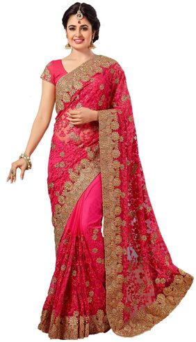 Nine Sister Net Universal Embroidered Work Saree - Pink