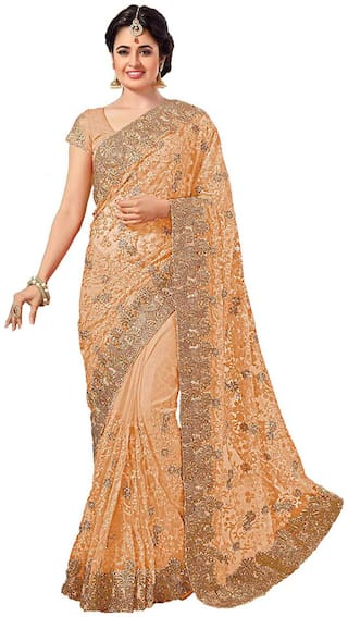Nine Sister Beige Embroidered Universal Designer Saree With Blouse , With blouse