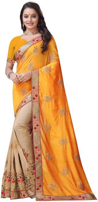 Nine Sister Embroidered Vichitra Silk Saree