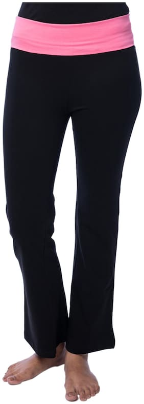 Nite Flite Black Cotton And Lycra Track Pant