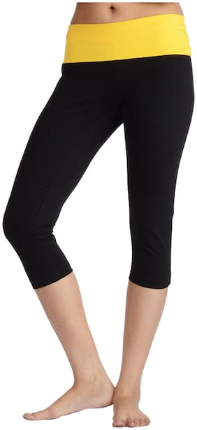 Nite Flite Black Cotton And Lycra Capri
