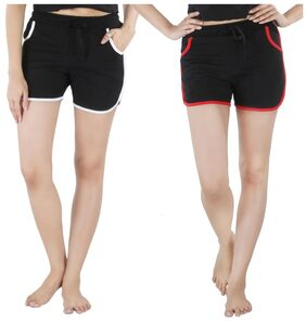 Nite Flite Black Cotton Hot Shorts - Pack Of 2