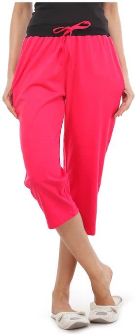 Nite Flite Classic Cotton Pink Capri (LT-411-23_S;Multicolor;S)