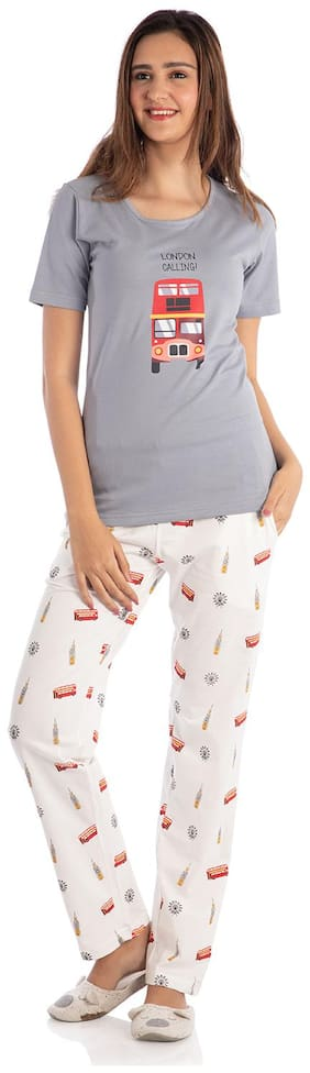 Nite Flite Women Cotton Printed Top and Pyjama Set - Grey & White