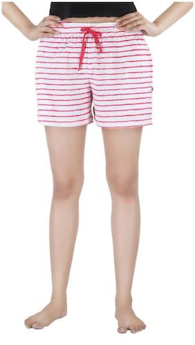 Nite Flite Women Striped Sport shorts - White