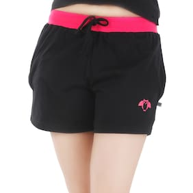 Nite Flite Women Cotton Solid Shorts - Black