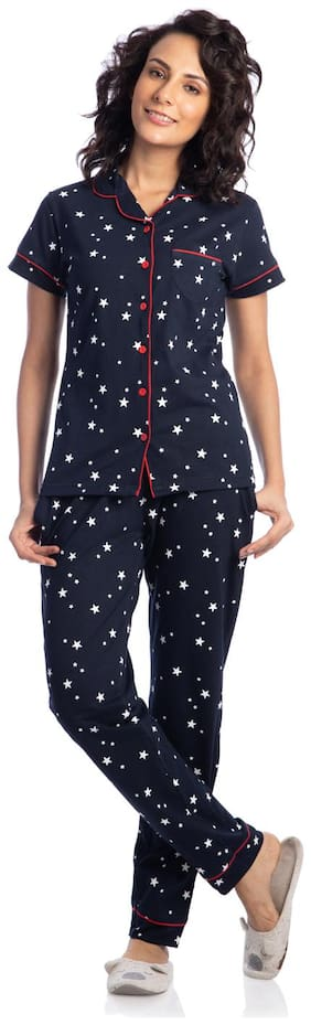 Nite Flite Women Cotton Printed Top and Pyjama Set - Navy Blue
