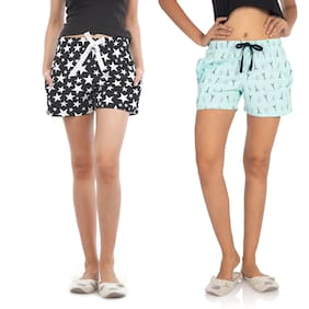 Nite Flite Women Cotton Printed Shorts - Multi