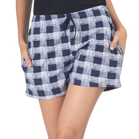 Nite Flite Women Cotton Checked Shorts - Blue