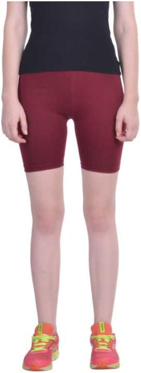 NITYAKSHI Women Solid Sport shorts - Maroon