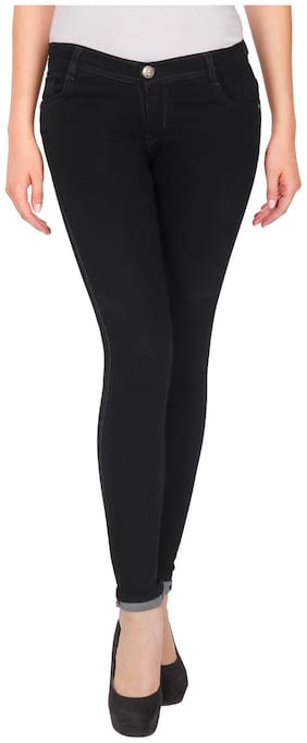 NJ's Women Skinny fit Low rise Solid Jeans - Black