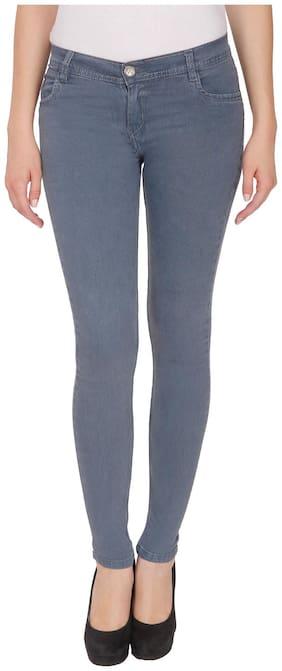 NJ's Women Skinny fit Low rise Solid Jeans - Grey