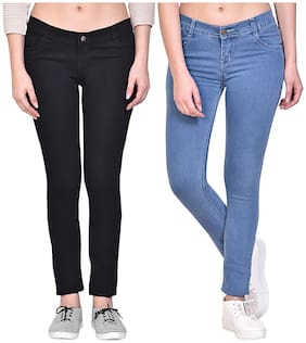 NJ's Women Black & Blue Straight fit Jeans