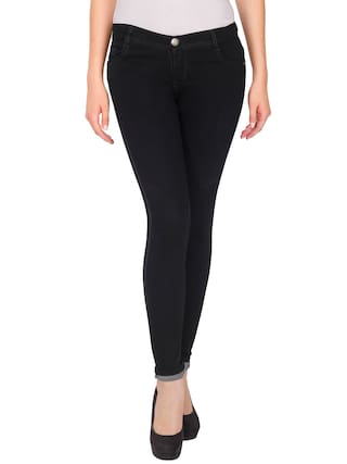 NJs;Black Mid Waist Women Silky Denim Jeans