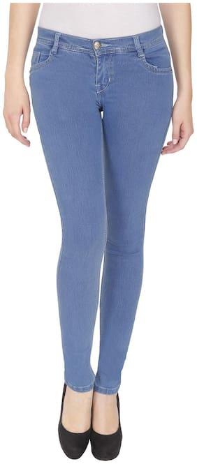 NJ's Women Slim fit Mid rise Solid Jeans - Blue