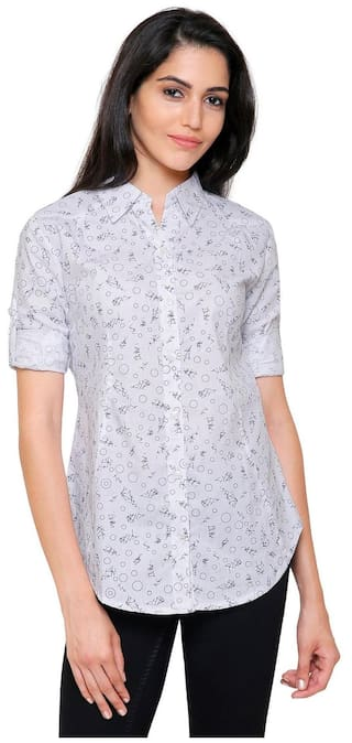 NJs Shirt IB Women 357 Cotton W White Printed NOY xUUPwrv