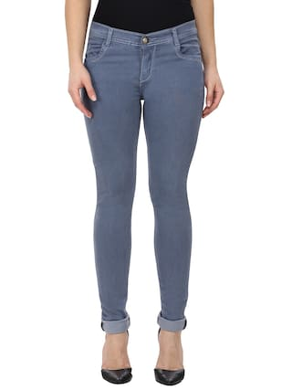 NJs;Grey Low Waist Women Silky Denim Jeans