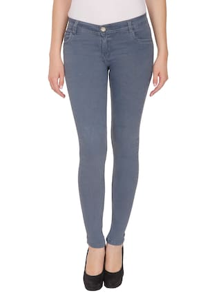 NJs;Grey Mid Waist Women Silky Denim Jeans