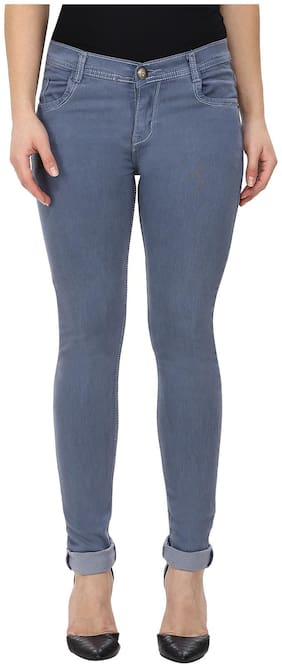 NJ's Women Slim fit Mid rise Solid Jeans - Grey