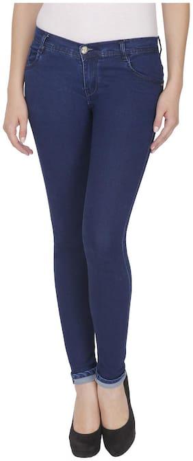 NJ's Women Slim fit Low rise Solid Jeans - Blue
