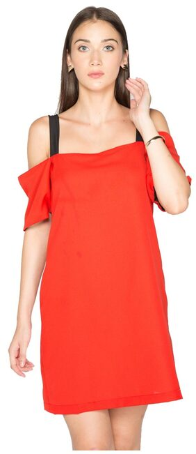 NOBLE FAITH Red cold shoulder dress with contrast straps