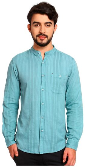 NOBLE FAITH Teal color 100% Cotton Full Sleeves Shirt for mens