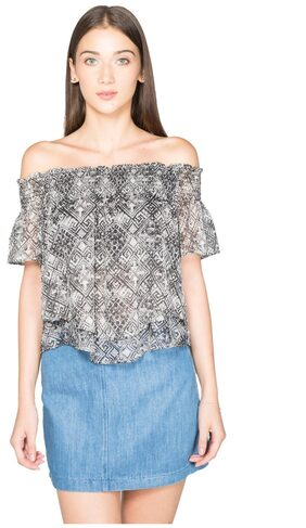 NOBLE FAITH Black Printed double layered bardot Top
