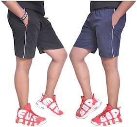 NSZO Men Black & Navy Blue Regular Fit Regular Shorts
